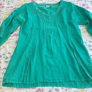 Isabella Bird linen top.  Teal, size XL